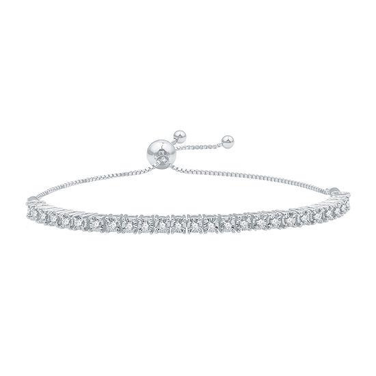 1/2 CT. T.W. Genuine White Diamond Sterling Silver Round Bolo Bracelet