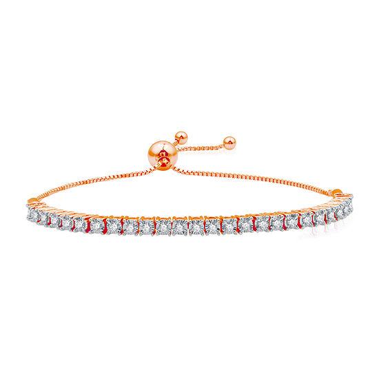 1/2 CT. T.W. Genuine Diamond 14K Rose Gold Over Silver Bolo Bracelet