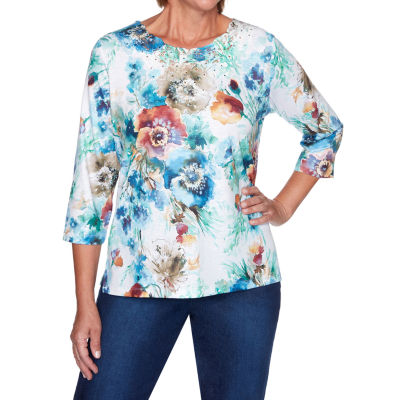 Alfred Dunner Hunter Mountain Womens Round Neck 3/4 Sleeve Knit Embellished Blouse