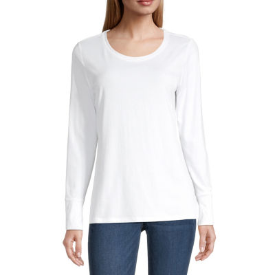 a.n.a Womens Scoop Neck Long Sleeve T-Shirt