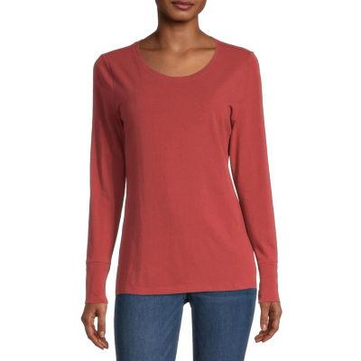 a.n.a. Womens Scoop Neck Long Sleeve T-Shirt