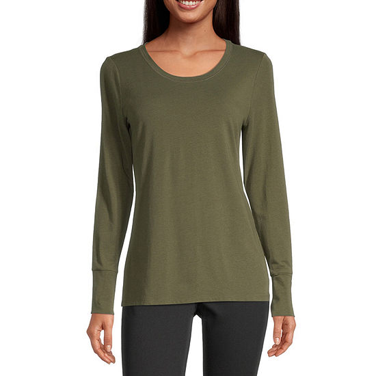 a.n.a Womens Scoop Neck Long Sleeve T-Shirt