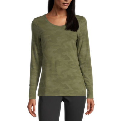 a.n.a. Womens Scoop Neck Long Sleeve T-Shirt