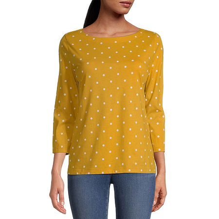 St. John's Bay Petite Classic-Womens Boat Neck 3/4 Sleeve T-Shirt, Petite Small , Yellow