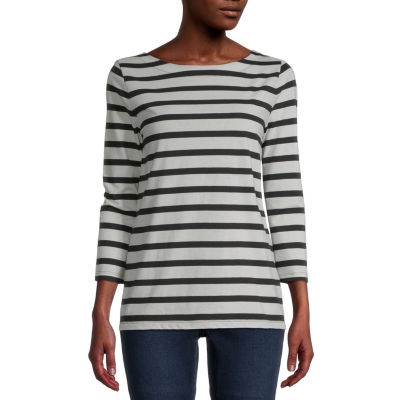 St. John's Bay Womens Boat Neck 3/4 Sleeve T-Shirt