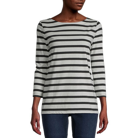 St. John's Bay-Womens Boat Neck 3/4 Sleeve T-Shirt, Petite Xx-large , White