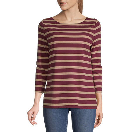 St. John's Bay-Womens Boat Neck 3/4 Sleeve T-Shirt, Petite Medium , Red