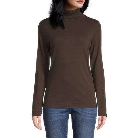 Features: EssentialsFit: Regular FitNeckline: TurtleneckSleeve Length: Long SleeveSleeve Style: Fitted SleeveApparel Length: 27 InchesFabric Content: 100% CottonFabric Description: InterlockCare: Machine Wash, Tumble DryCountry of Origin: Imported
