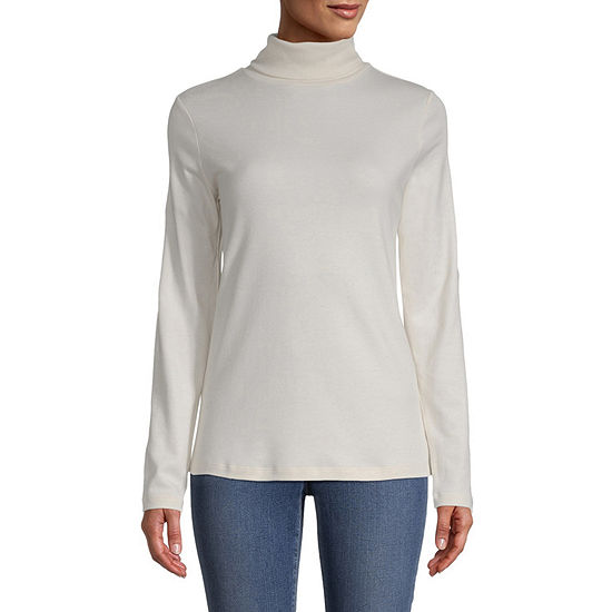 St. John's Bay-Womens Turtleneck Long Sleeve T-Shirt