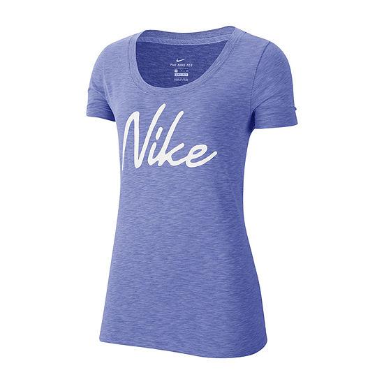 Nike Womens Scoop Neck Short Sleeve Graphic T-Shirt