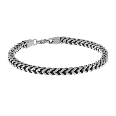 "Mens Antique Finish Stainless Steel 9"" 5mm Foxtail Bracelet"