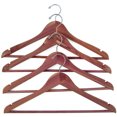 Household Essentials® Cedar Hanger with Fixed Bar - 4 Pack