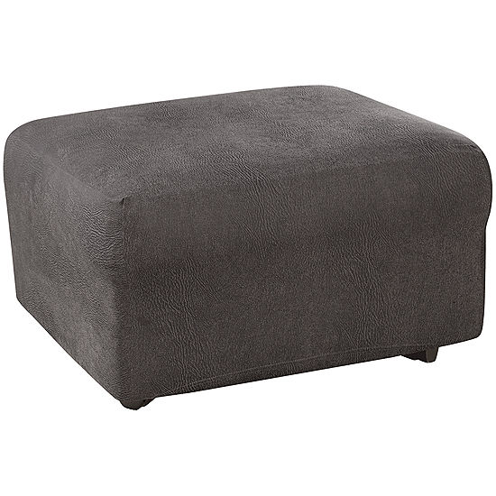 Astounding Sure Fit Ultimate Stretch Faux Leather 1 Pc Ottoman Slipcover Cjindustries Chair Design For Home Cjindustriesco