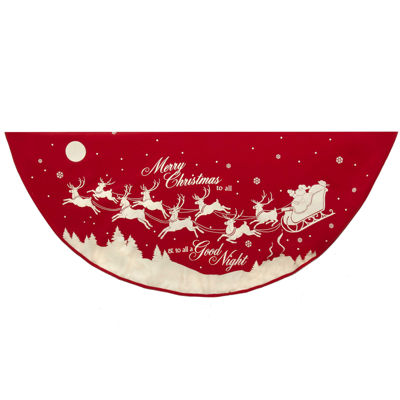 "Kurt Adler 48"" Reindeer and Santa Printed Tree Skirt"