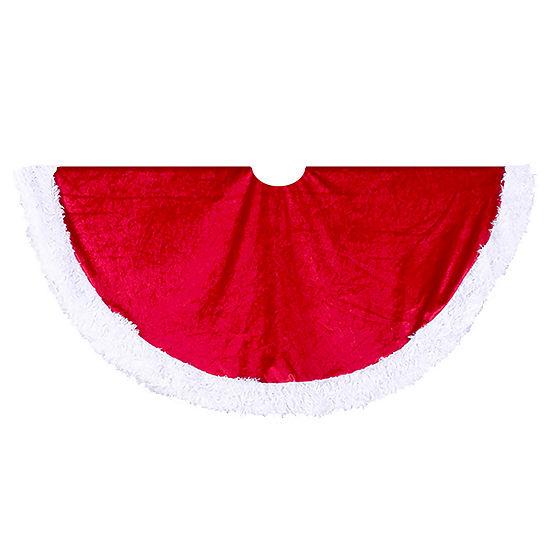 """Kurt Adler 48"""" Red Velvet Tree Skirt with White Trim"""