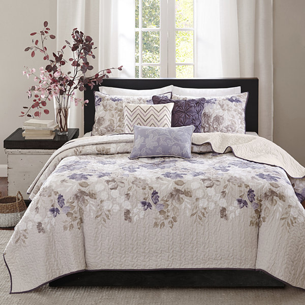 Madison Park Piper Floral 6 Pc. Quilted Coverlet Set