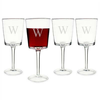 Cathy's Concepts Monogram Etched Glass Set of 4 Contemporary Wine Glasses