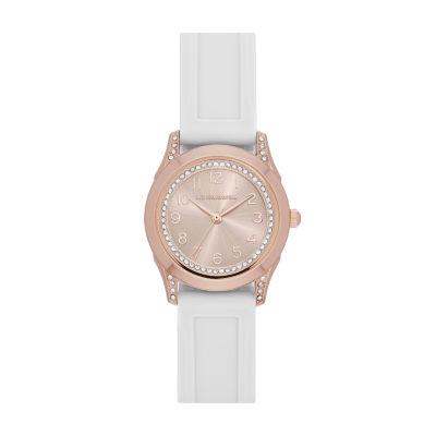 Liz Claiborne® Rose and White Strap Watch