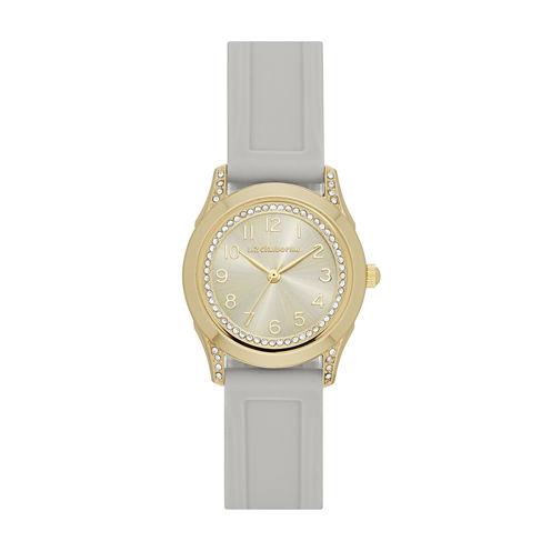 Liz Claiborne® Womens Brown Strap Watch