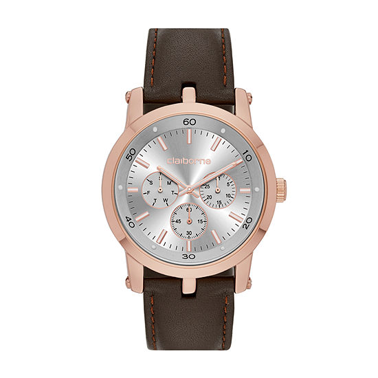 Claiborne® Mens Rose-Tone Strap Watch