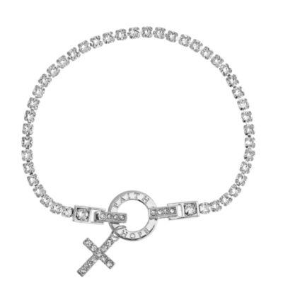 Sparkle Allure Womens White Silver Over Brass Charm Bracelet