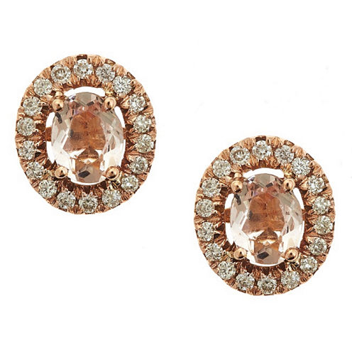 LIMITED QUANTITIES! 1/5 CT. T.W. Oval Pink Morganite 14K Gold Stud Earrings