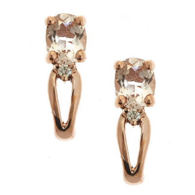 LIMITED QUANTITIES! Diamond Accent Pink Morganite 14K Gold Drop Earrings