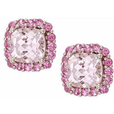 LIMITED QUANTITIES! Cushion Pink Morganite 10K Gold Stud Earrings