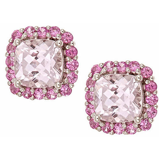 Limited Quantities Cushion Pink Morganite 10k Gold Stud Earrings