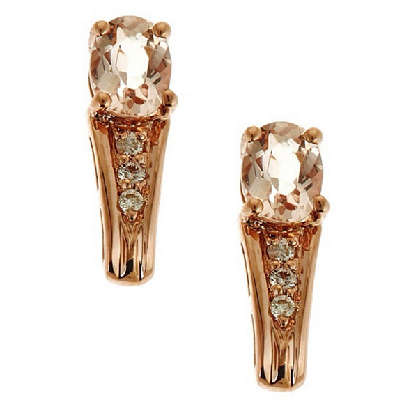 LIMITED QUANTITIES! Diamond Accent Pink Morganite 14K Gold Drop Earringss