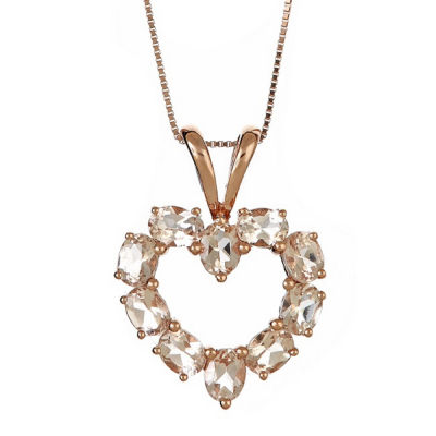 LIMITED QUANTITIES! Diamond Accent Pink Morganite 14K Gold Pendant Necklace