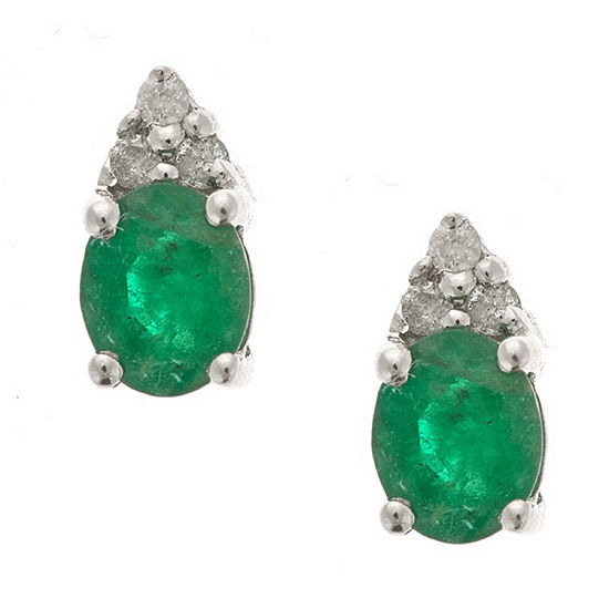 Diamond Accent Oval Green Emerald 10k Gold Stud Earrings