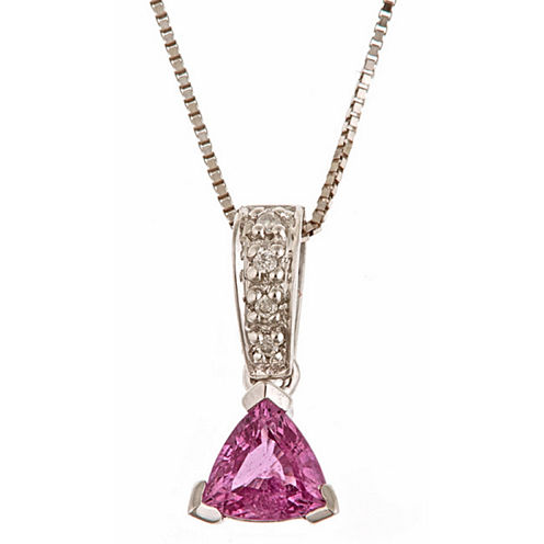 LIMITED QUANTITIES! Diamond Accent Pink Sapphire 14K Gold Pendant Necklace