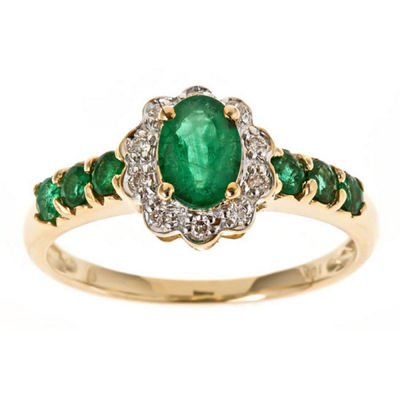 Fine Jewelry LIMITED QUANTITIES! Womens 1/10 CT. T.W. Genuine Emerald 10K Gold Cocktail Ring 6rx7p