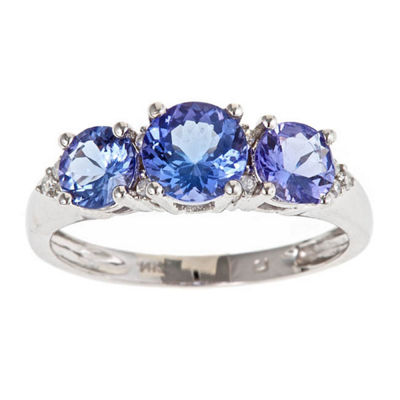 Womens Diamond Accent Blue Tanzanite 14K Gold Bypass Ring