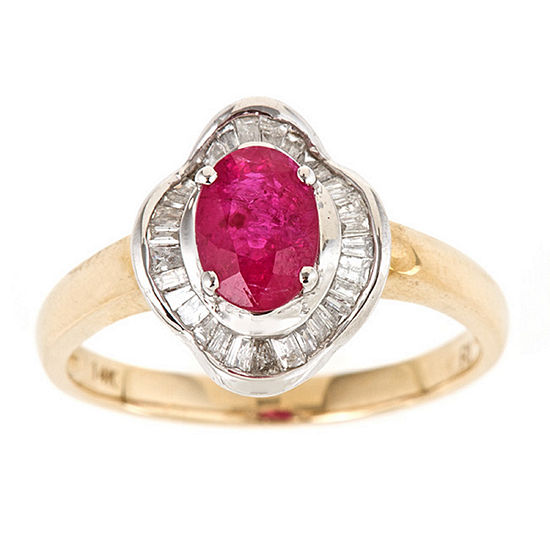 LIMITED QUANTITIES! Womens Lead Glass-Filled Ruby 14K Gold Bypass Ring