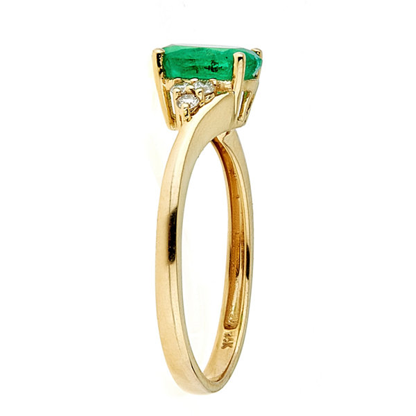 LIMITED QUANTITIES! 1/10 CT. T.W. Genuine Emerald 14K Gold Cocktail Ring