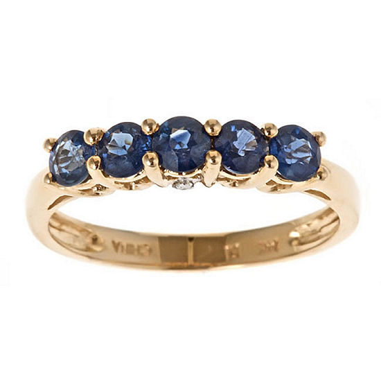 Limited Quantities Womens Diamond Accent Blue Sapphire 14k Gold Band