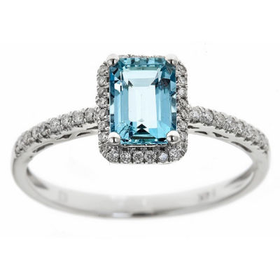 LIMITED QUANTITIES! 1/7 CT. T.W. Blue Aquamarine 14K Gold Cocktail Ring