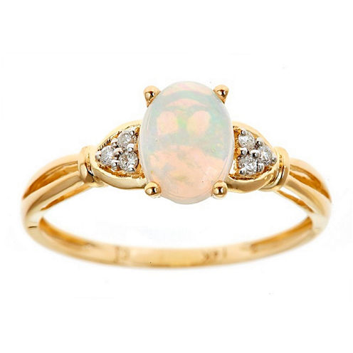 LIMITED QUANTITIES! Diamond Accent White Opal 14K Gold Cocktail Ring