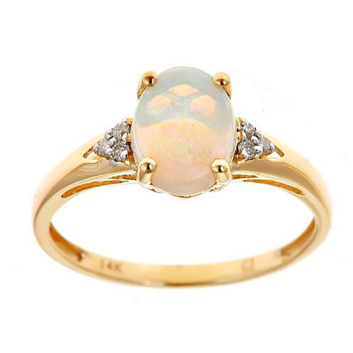 LIMITED QUANTITIES! Womens Diamond Accent White Opal 14K Gold Cocktail Ring