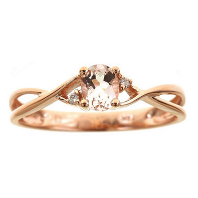 LIMITED QUANTITIES! Diamond Accent Pink 14K Gold Crossover Ring