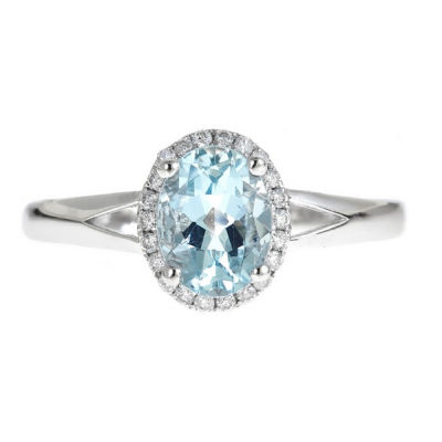 LIMITED QUANTITIES! 1/8 CT. T.W. Blue Aquamarine 14K Gold Cocktail Ring