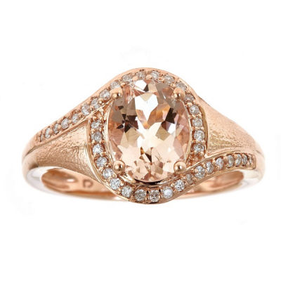 LIMITED QUANTITIES!  Morganite and 1/5 CT. T.W. Diamond 10K Rose Gold Ring