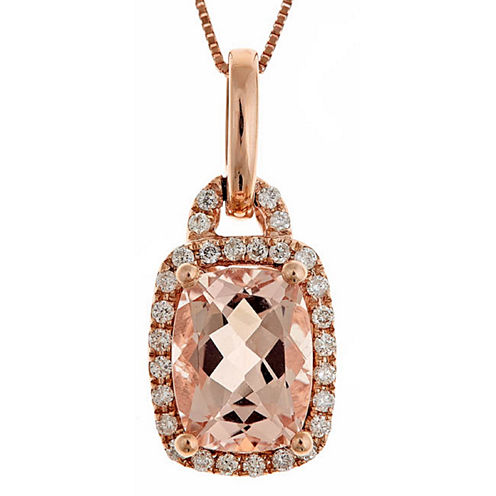 LIMITED QUANTITIES! 1/6 CT. T.W. Pink Morganite 14K Gold Pendant Necklace