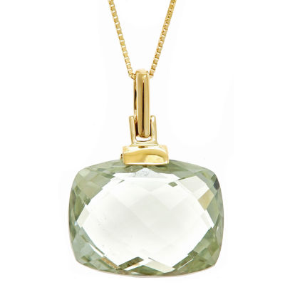 LIMITED QUANTITIES! Green Amethyst 14K Gold Pendant Necklace