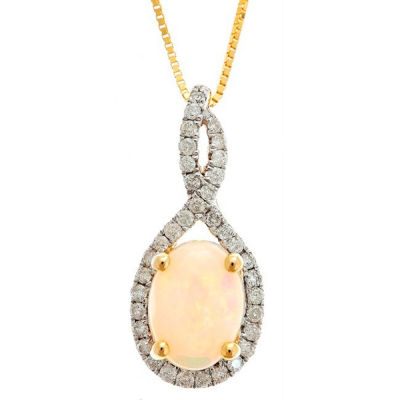 LIMITED QUANTITIES! 1/5 CT. T.W. White Opal 14K Gold Pendant Necklace