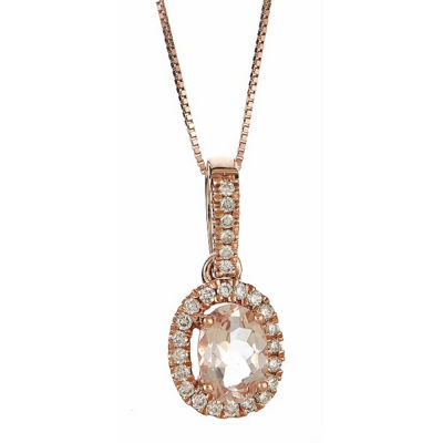 LIMITED QUANTITIES! Womens 1/5 CT. T.W. Pink Morganite 14K Gold Pendant Necklace