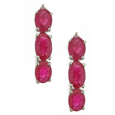 LIMITED QUANTITIES! Lead-glass Filled Ruby Diamond Accent 14K White Gold Drop Earrings