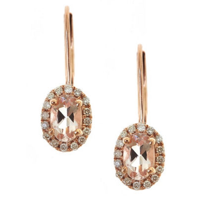 LIMITED QUANTITIES! 1/6 CT. T.W. Pink Morganite 14K Gold Drop Earrings